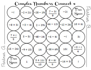 Complex Numbers Connect 4 Game