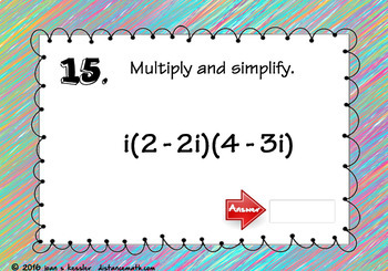 Complex Numbers End of Unit with BOOM Cards Digital 1:1 Algebra