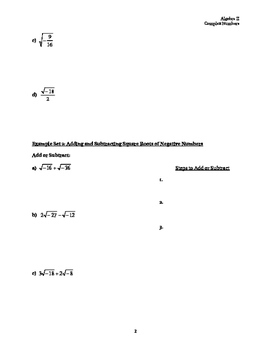 Complex Numbers Guided Notes