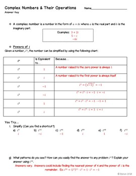 Complex Numbers Guided Notes, Skeleton Notes