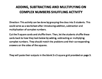 Complex Numbers Operations Shuffling Activity