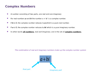 Complex Numbers (Quick Math Review Presentation and Handout)