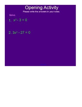 Complex Numbers Part I SmartBoard Lesson
