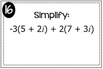 Complex Numbers Triples Activity
