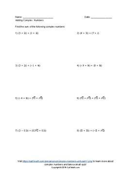 Complex Numbers Unit, Part 1
