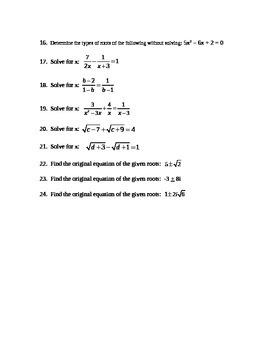 Complex Numbers and Quadratics Test