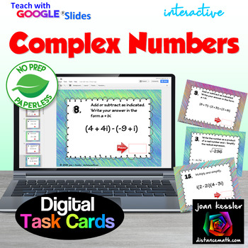 Complex Numbers with GOOGLE Slides Digital Task Cards