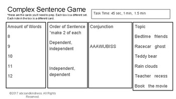 Complex Sentence Game