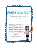 Complex Sentence Practice- Sentence Sort