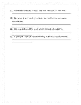 Complex Sentence Sheet
