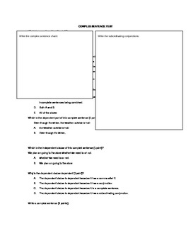 Complex Sentence Test (Goes with the Building Complex Sent