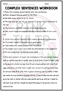Complex Sentence Test - Review your students grammar and parts of speech