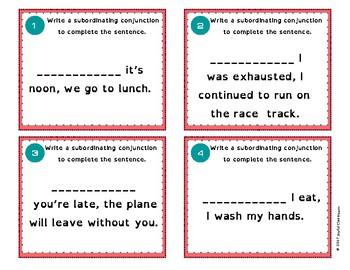 Complex Sentences AAAWWUBBIS and Commas Task Cards