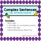 Complex Sentences Games, Activities, Centers, Worksheet
