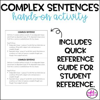 Complex Sentences - Hands On Activity - Sentence Structure