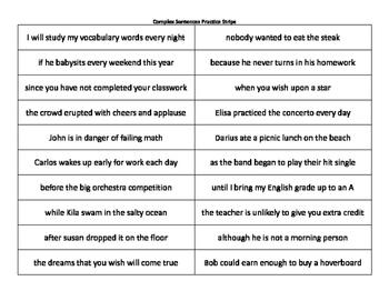 Complex Sentences Practice Strips