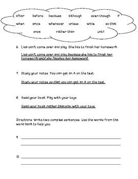 Complex Sentences Quiz