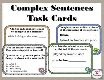Complex Sentences Task Cards