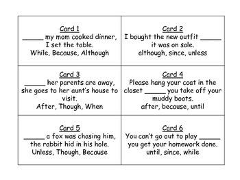 Complex Sentences Task Cards for Journeys 3rd Grade