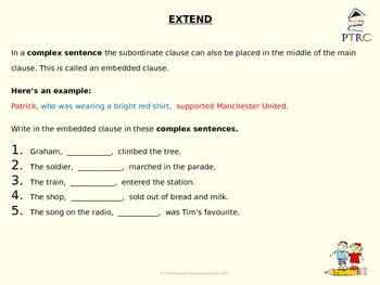 Complex Sentences Teaching PowerPoint