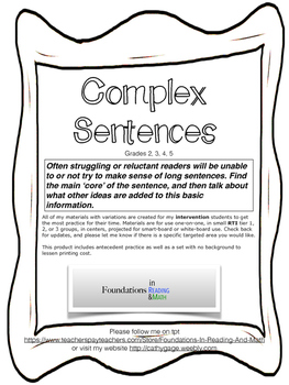 Complex Sentences and Antecedents for RTI and whole class