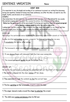 Complex Sentences and Sentence Variation - Grammar Worksheets with Answers