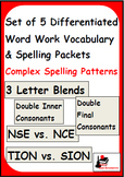 Complex Spelling Patterns-Set of 5 Differentiated Word Wor