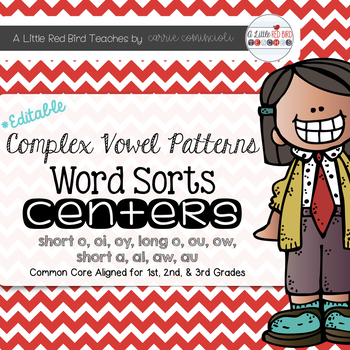 Complex Vowel Patterns Word Sorts {Editable}