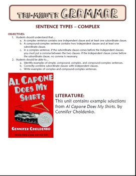 Complex and Compound-Complex Sentences: Ten-Minute Grammar Unit #14