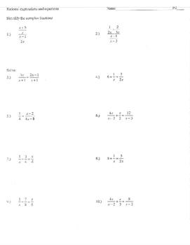 Complex fractions Rational equations