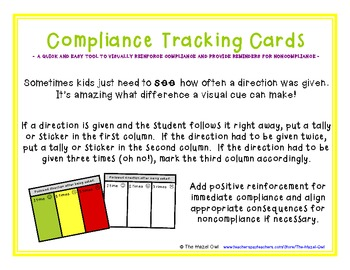 FREE Compliance Tracking Cards (Behavior Management)