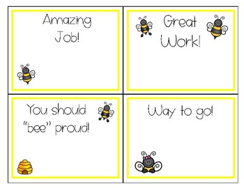 Compliment Cards - Bee Theme