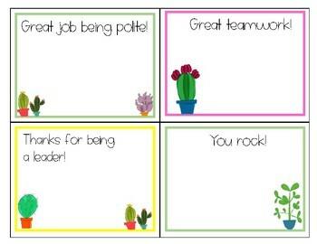 Teacher Notes - Cactus/Succulent Theme
