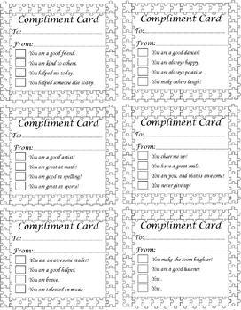 Compliment Cards : Kindness Week Autism Month : Blank or Pre-filled