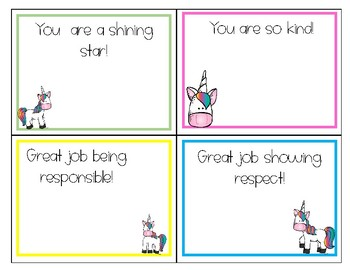 Compliment Cards - Unicorn Theme