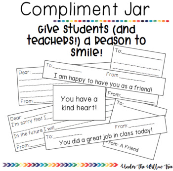 Compliment Jar Printable Cards Freebie By Under The Willow Tree Tpt