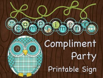 Compliment Party Wall Sign - OWL Scrapbook Design - Print