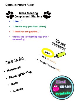 Compliment Starters, Paper Heading & Other Class Posters