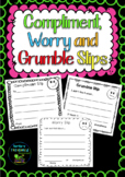 Compliment, Worry & Grumble Slips