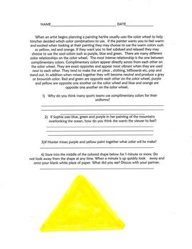 Complimentary Colors Lesson Plan,Close Reading,Experiment