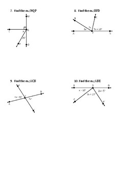 Complimentary Supplementary and Vertical Angles