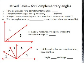 Complimentary and Supplementary Angles