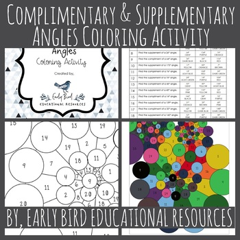 Complimentary and Supplementary Angles Coloring Activity