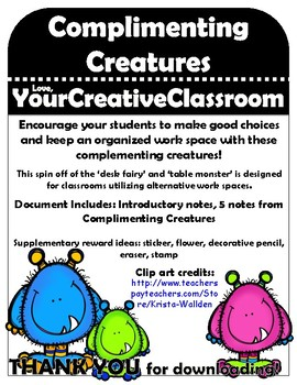 Complimenting Creatures Notes - Classroom Management and O