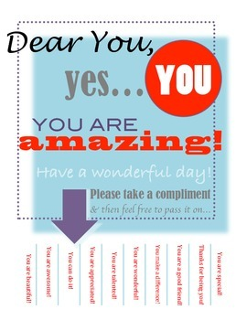 Compliments Poster - Friendship, Kindness, Nice Words, Stu