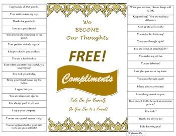Compliments Poster PBIS Self-esteem Motivation Staff Moral