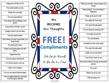 Compliments Poster PBIS Self-esteem Motivation Staff Morale Counselor