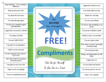 Compliment Poster for Self or other PBIS Self-esteem Motiv