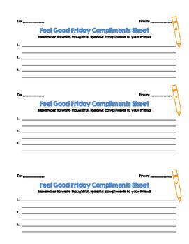 Compliments Sheet