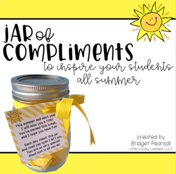 Compliments In A Jar End Of The Year Student Gift From Teacher Tpt